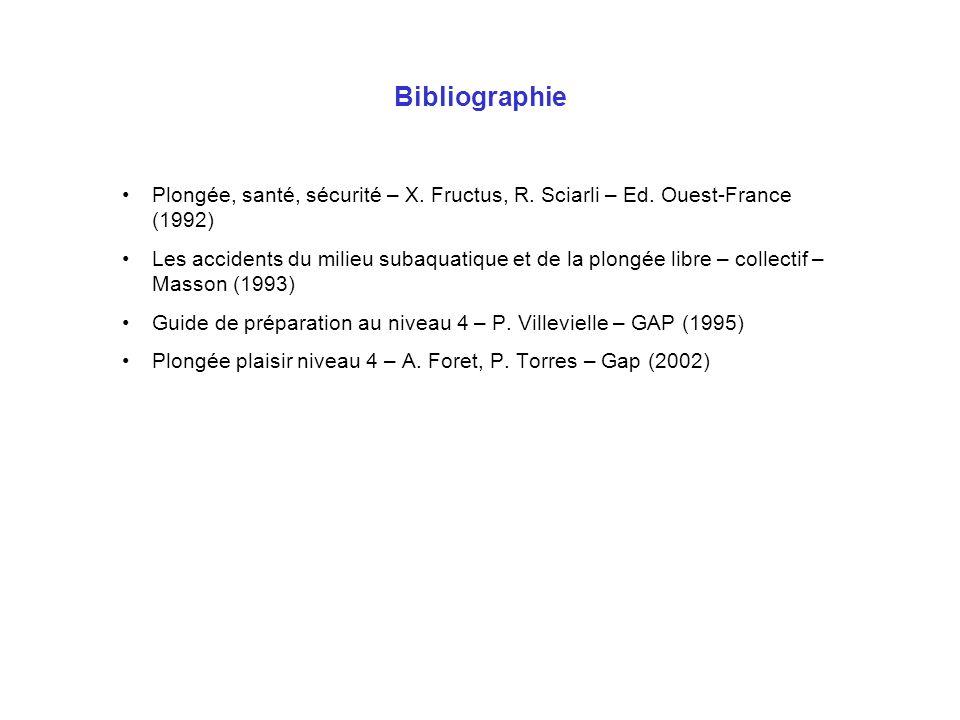 Bibliographie Plongée, santé, sécurité – X. Fructus, R. Sciarli – Ed. Ouest-France (1992) Les accidents du milieu subaquatique et de la plongée libre
