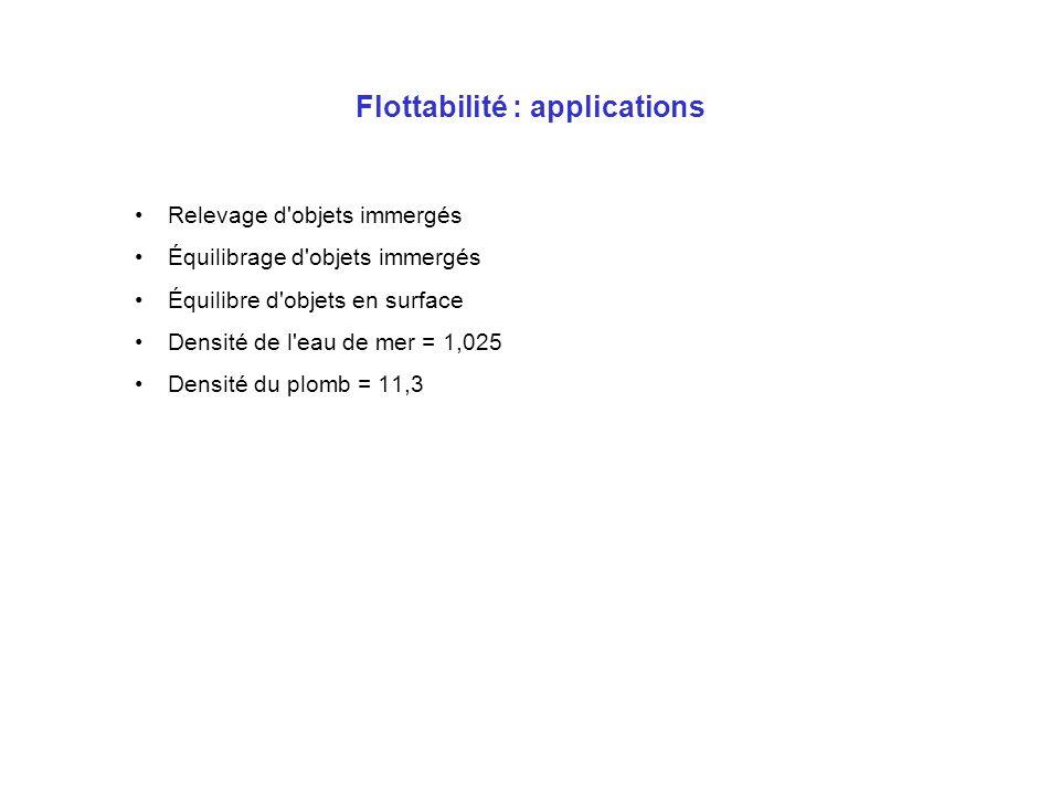 Flottabilité : applications Relevage d'objets immergés Équilibrage d'objets immergés Équilibre d'objets en surface Densité de l'eau de mer = 1,025 Den