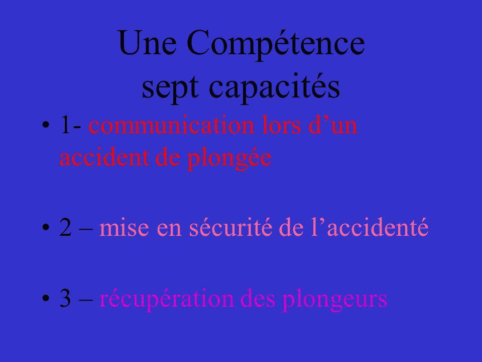 Une Compétence sept capacités 1- communication lors dun accident de plongée 2 – mise en sécurité de laccidenté 3 – récupération des plongeurs