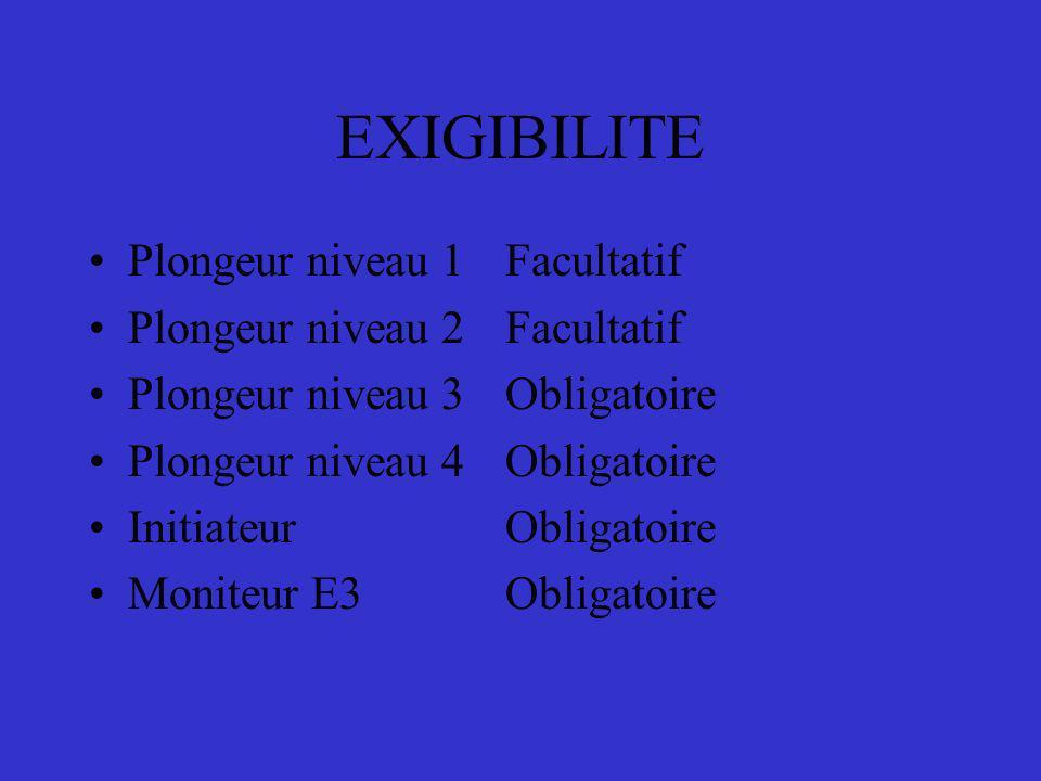 EXIGIBILITE Plongeur niveau 1Facultatif Plongeur niveau 2Facultatif Plongeur niveau 3Obligatoire Plongeur niveau 4Obligatoire Initiateur Obligatoire M