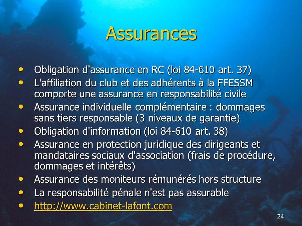 24 Assurances Obligation d'assurance en RC (loi 84-610 art. 37) Obligation d'assurance en RC (loi 84-610 art. 37) L'affiliation du club et des adhéren