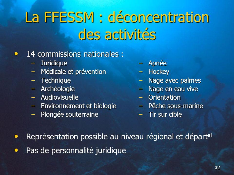 32 La FFESSM : déconcentration des activités 14 commissions nationales : 14 commissions nationales : –Juridique –Médicale et prévention –Technique –Ar