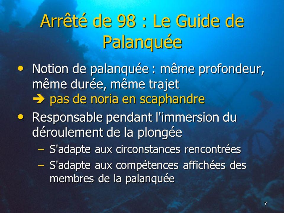 7 Arrêté de 98 : Le Guide de Palanquée Notion de palanquée : même profondeur, même durée, même trajet pas de noria en scaphandre Notion de palanquée :