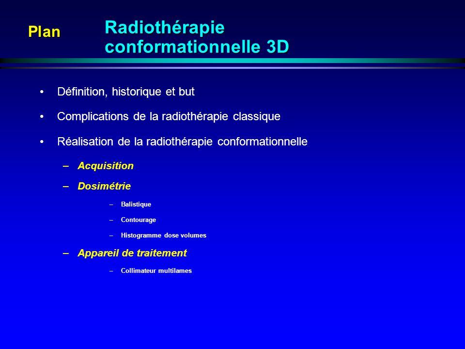 Plan Définition, historique et but Complications de la radiothérapie classique Réalisation de la radiothérapie conformationnelle –Acquisition –Dosimét