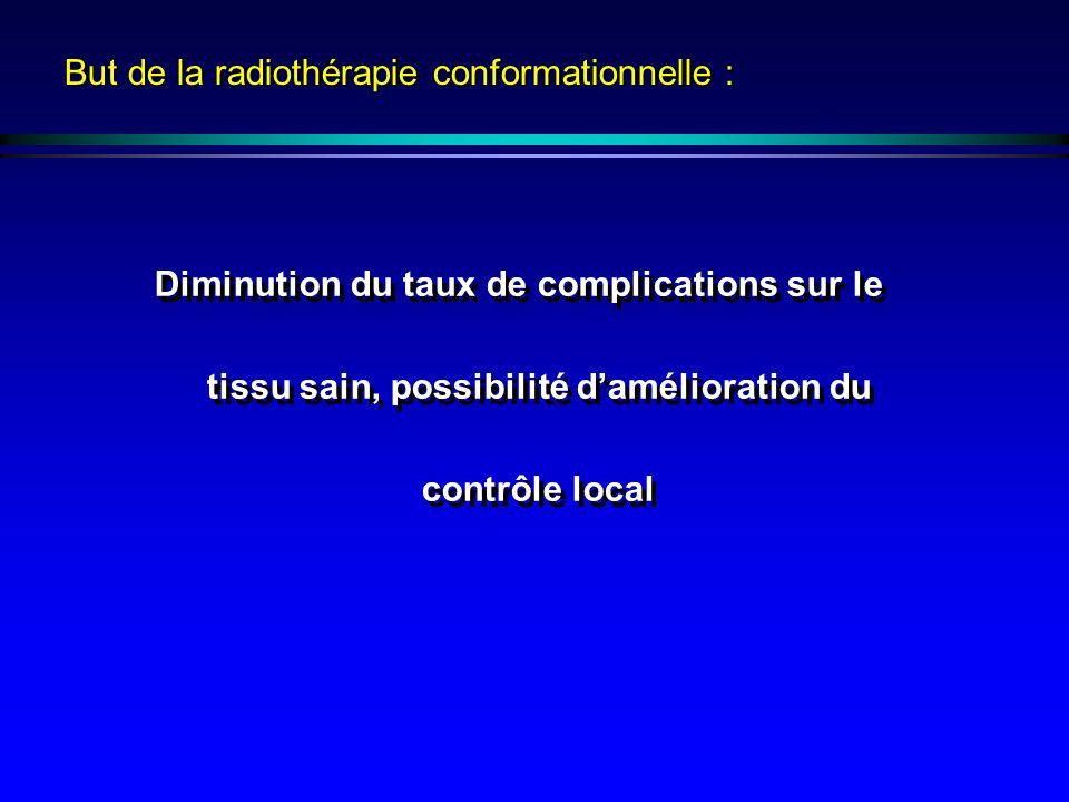 But de la radiothérapie conformationnelle : Diminution du taux de complications sur le tissu sain, possibilité damélioration du contrôle local