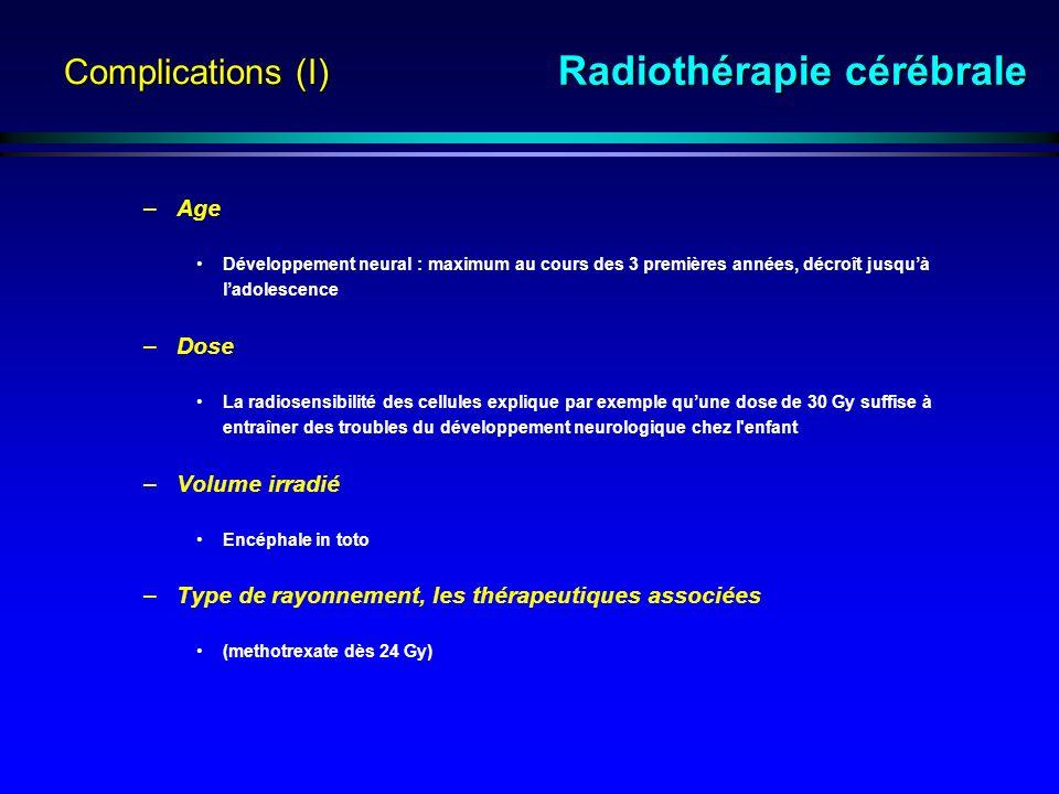 Complications (I) –Age Développement neural : maximum au cours des 3 premières années, décroît jusquà ladolescence –Dose La radiosensibilité des cellules explique par exemple quune dose de 30 Gy suffise à entraîner des troubles du développement neurologique chez l enfant –Volume irradié Encéphale in toto –Type de rayonnement, les thérapeutiques associées (methotrexate dès 24 Gy) Radiothérapie cérébrale