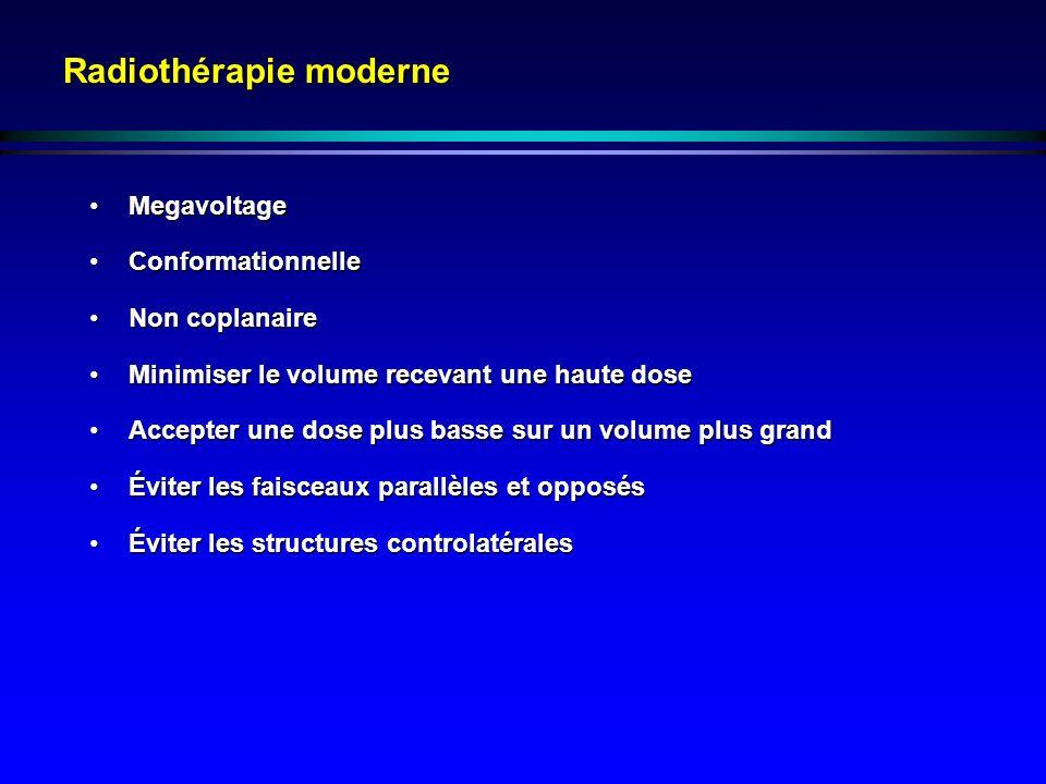 Radiothérapie moderne MegavoltageMegavoltage ConformationnelleConformationnelle Non coplanaireNon coplanaire Minimiser le volume recevant une haute do