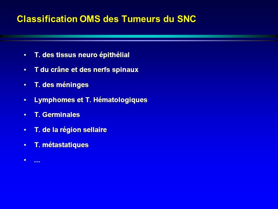 Classification OMS des Tumeurs du SNC T. des tissus neuro épithélialT. des tissus neuro épithélial T du crâne et des nerfs spinauxT du crâne et des ne