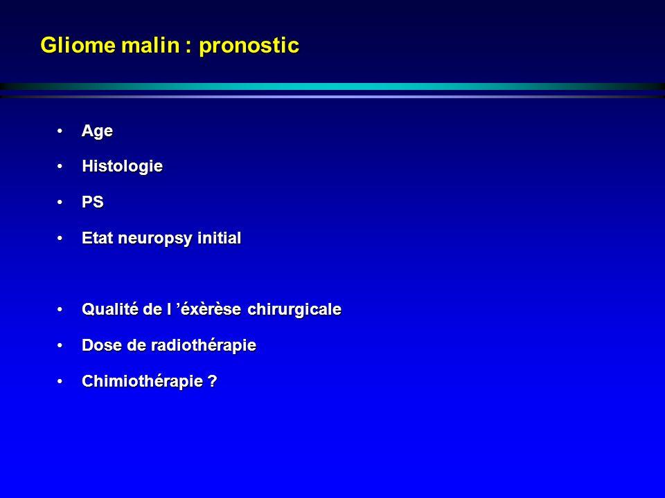 Gliome malin : pronostic AgeAge HistologieHistologie PSPS Etat neuropsy initialEtat neuropsy initial Qualité de l éxèrèse chirurgicaleQualité de l éxèrèse chirurgicale Dose de radiothérapieDose de radiothérapie Chimiothérapie ?Chimiothérapie ?