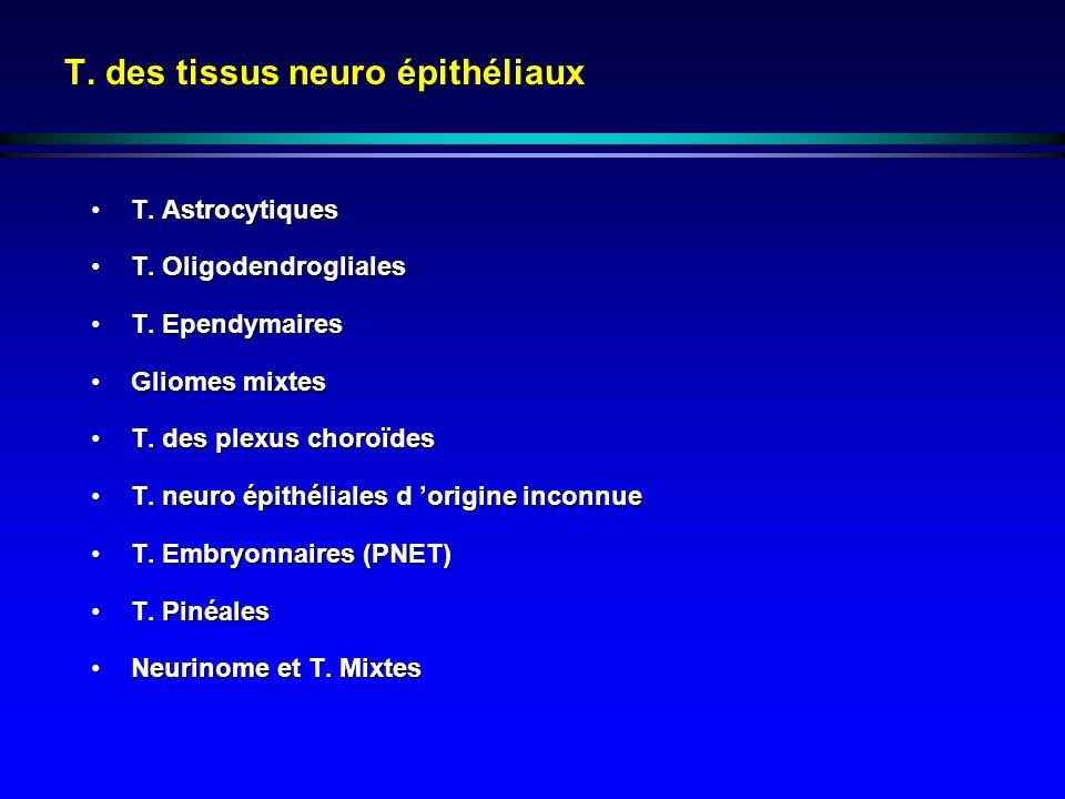 T. des tissus neuro épithéliaux T. AstrocytiquesT. Astrocytiques T. OligodendroglialesT. Oligodendrogliales T. EpendymairesT. Ependymaires Gliomes mix