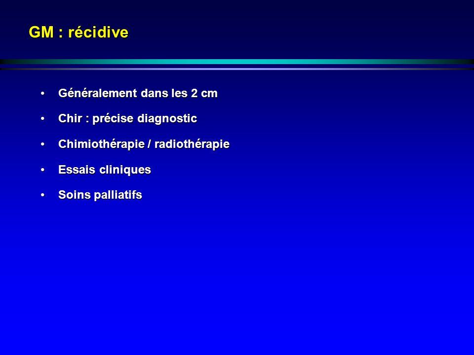 GM : récidive Généralement dans les 2 cmGénéralement dans les 2 cm Chir : précise diagnosticChir : précise diagnostic Chimiothérapie / radiothérapieCh