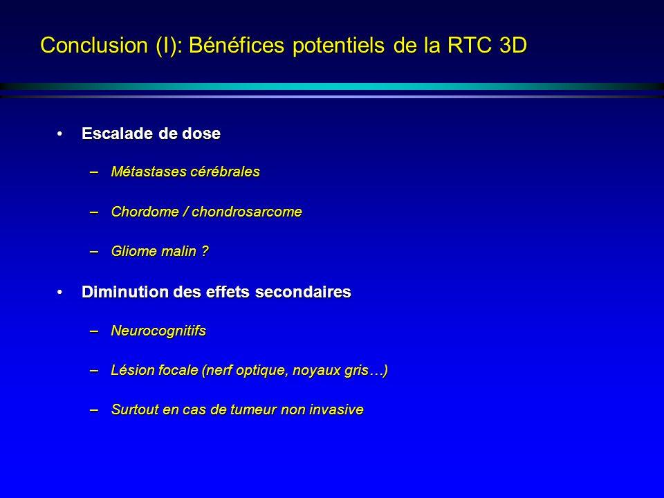 Conclusion (I): Bénéfices potentiels de la RTC 3D Escalade de doseEscalade de dose –Métastases cérébrales –Chordome / chondrosarcome –Gliome malin ? D
