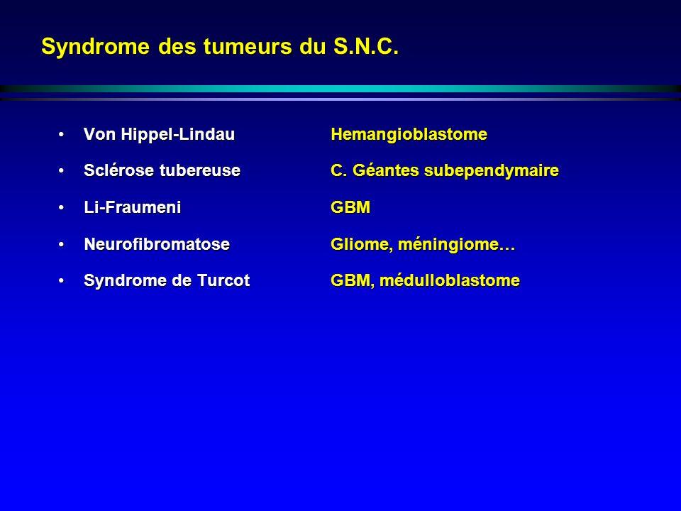 Syndrome des tumeurs du S.N.C. Von Hippel-LindauHemangioblastomeVon Hippel-LindauHemangioblastome Sclérose tubereuseC. Géantes subependymaireSclérose