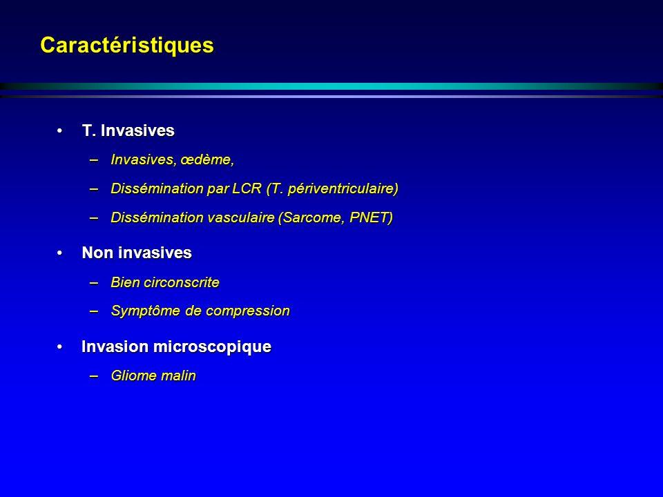 Caractéristiques T. InvasivesT. Invasives –Invasives, œdème, –Dissémination par LCR (T. périventriculaire) –Dissémination vasculaire (Sarcome, PNET) N
