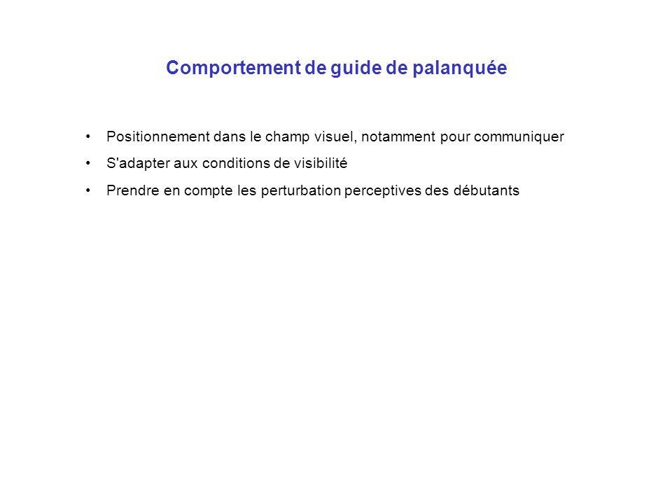 Comportement de guide de palanquée Positionnement dans le champ visuel, notamment pour communiquer S'adapter aux conditions de visibilité Prendre en c
