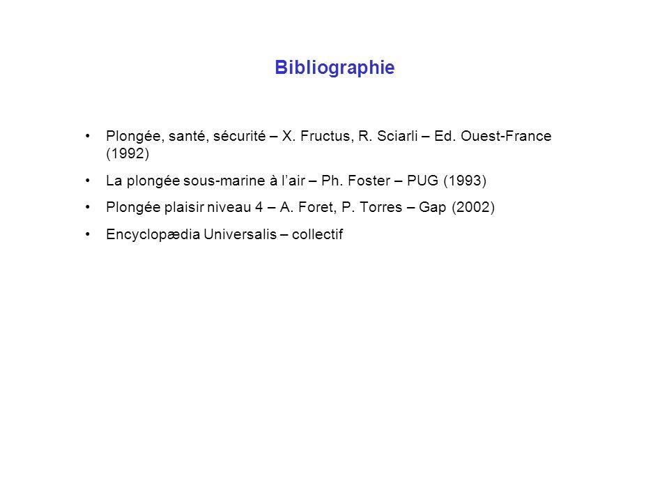 Bibliographie Plongée, santé, sécurité – X. Fructus, R. Sciarli – Ed. Ouest-France (1992) La plongée sous-marine à lair – Ph. Foster – PUG (1993) Plon