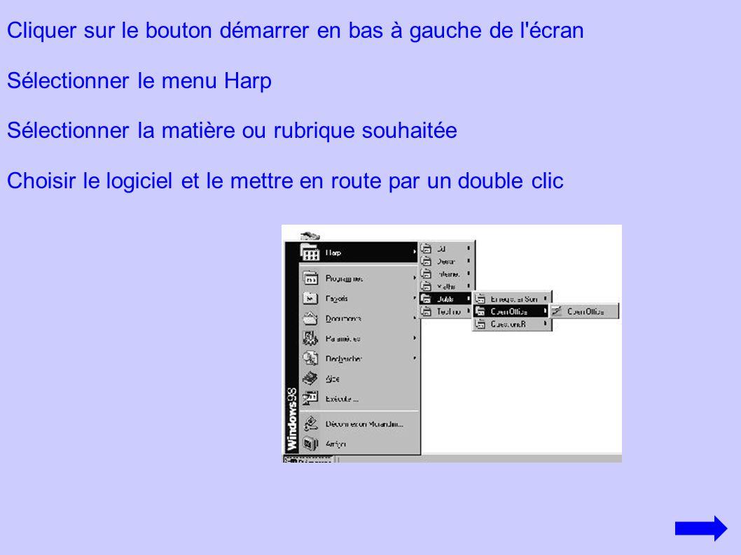 Cliquer sur le bouton démarrer en bas à gauche de l'écran Sélectionner le menu Harp Sélectionner la matière ou rubrique souhaitée Choisir le logiciel