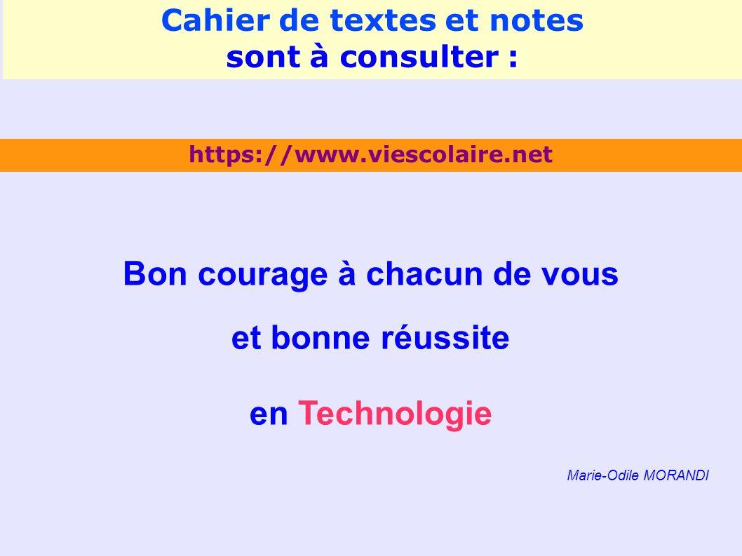 Bon courage à chacun de vous et bonne réussite en Technologie Marie-Odile MORANDI https://www.viescolaire.net Cahier de textes et notes sont à consulter :
