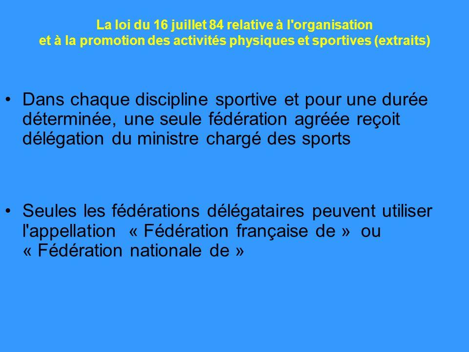 La loi du 16 juillet 84 relative à l'organisation et à la promotion des activités physiques et sportives (extraits) Dans chaque discipline sportive et