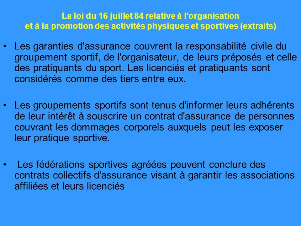 La loi du 16 juillet 84 relative à l'organisation et à la promotion des activités physiques et sportives (extraits) Les garanties d'assurance couvrent