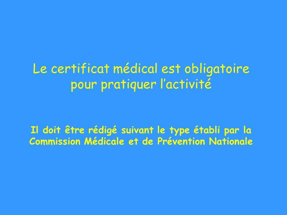 Le certificat médical est obligatoire pour pratiquer lactivité Il doit être rédigé suivant le type établi par la Commission Médicale et de Prévention