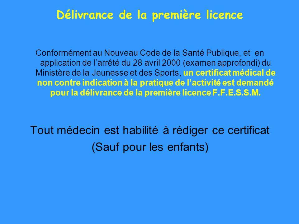 Délivrance de la première licence Conformément au Nouveau Code de la Santé Publique, et en application de larrêté du 28 avril 2000 (examen approfondi)