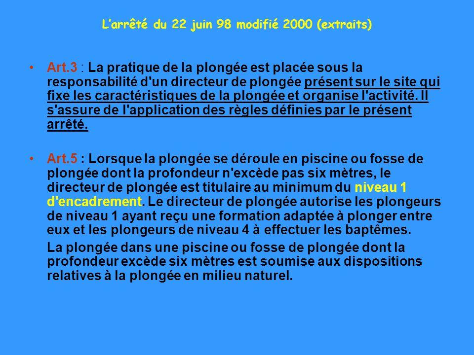 Larrêté du 22 juin 98 modifié 2000 (extraits) Art.3 : La pratique de la plongée est placée sous la responsabilité d'un directeur de plongée présent su