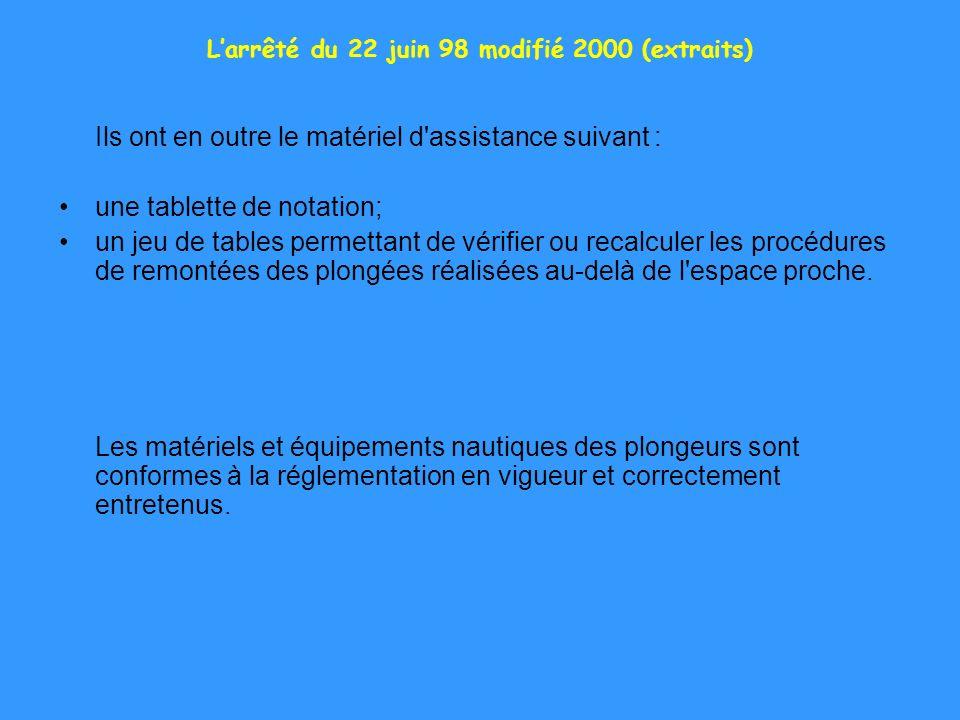 Larrêté du 22 juin 98 modifié 2000 (extraits) Ils ont en outre le matériel d'assistance suivant : une tablette de notation; un jeu de tables permettan