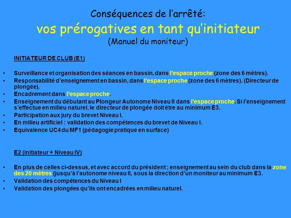 Conséquences de larrêté: vos prérogatives en tant quinitiateur (Manuel du moniteur) INITIATEUR DE CLUB (E1) Surveillance et organisation des séances e