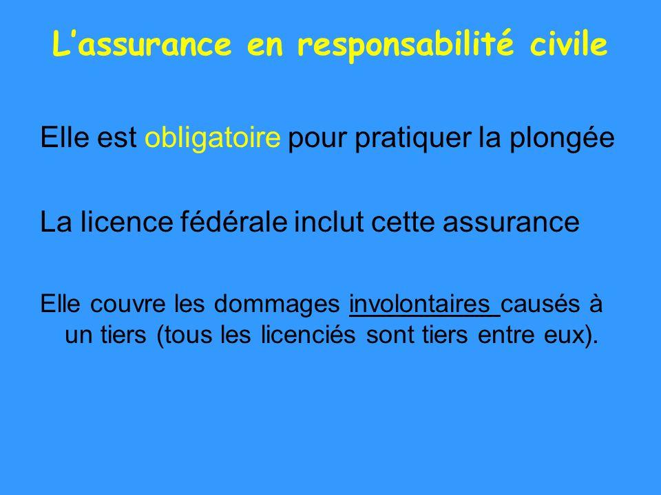 Lassurance en responsabilité civile Elle est obligatoire pour pratiquer la plongée La licence fédérale inclut cette assurance Elle couvre les dommages
