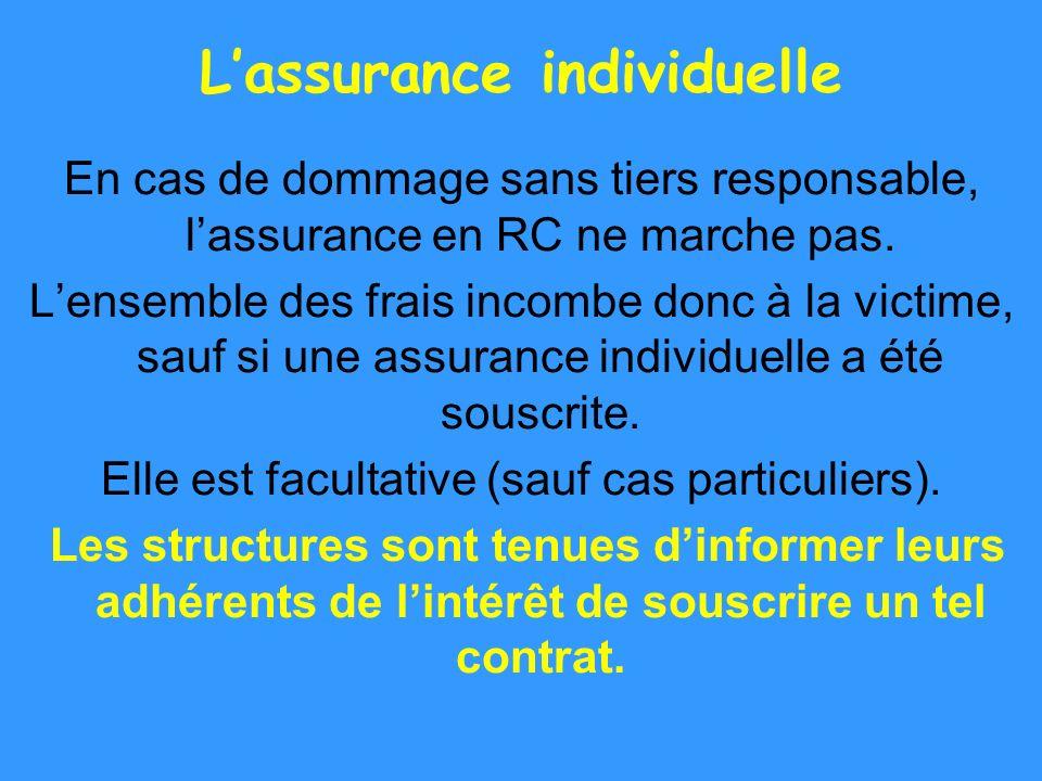 Lassurance individuelle En cas de dommage sans tiers responsable, lassurance en RC ne marche pas. Lensemble des frais incombe donc à la victime, sauf
