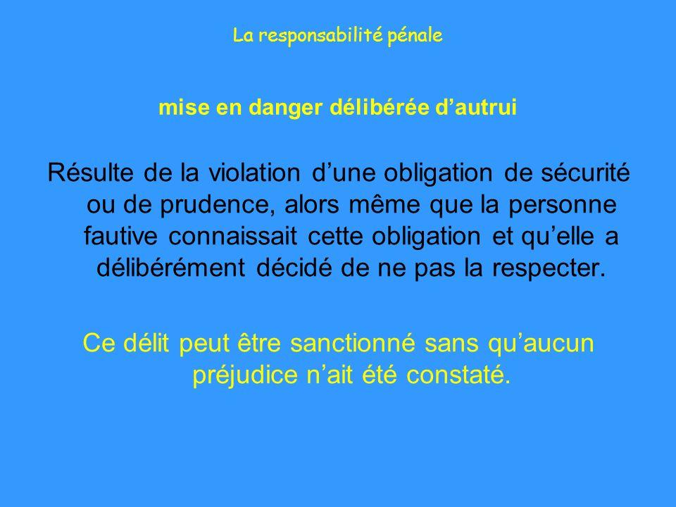La responsabilité pénale mise en danger délibérée dautrui Résulte de la violation dune obligation de sécurité ou de prudence, alors même que la person