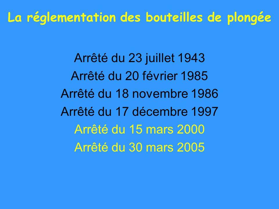 La réglementation des bouteilles de plongée Arrêté du 23 juillet 1943 Arrêté du 20 février 1985 Arrêté du 18 novembre 1986 Arrêté du 17 décembre 1997