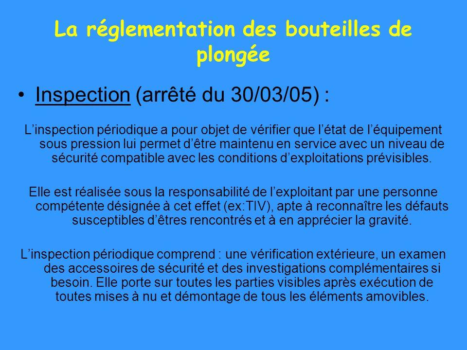 La réglementation des bouteilles de plongée Inspection (arrêté du 30/03/05) : Linspection périodique a pour objet de vérifier que létat de léquipement
