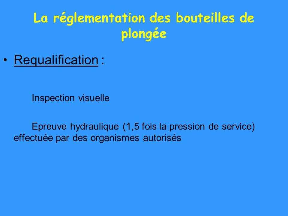 La réglementation des bouteilles de plongée Requalification : Inspection visuelle Epreuve hydraulique (1,5 fois la pression de service) effectuée par