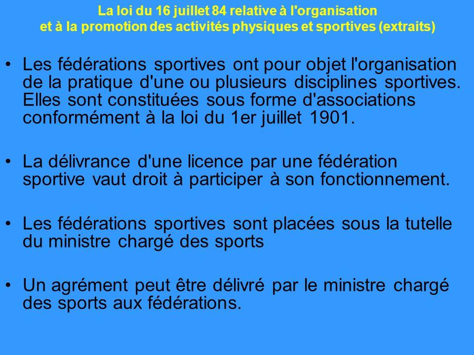 Les fédérations sportives ont pour objet l'organisation de la pratique d'une ou plusieurs disciplines sportives. Elles sont constituées sous forme d'a