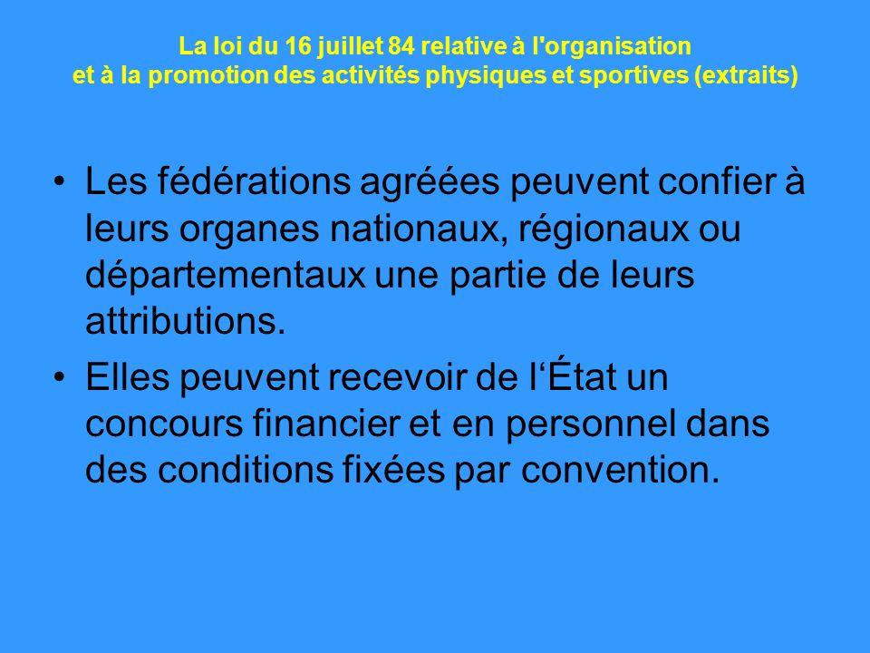 La loi du 16 juillet 84 relative à l'organisation et à la promotion des activités physiques et sportives (extraits) Les fédérations agréées peuvent co