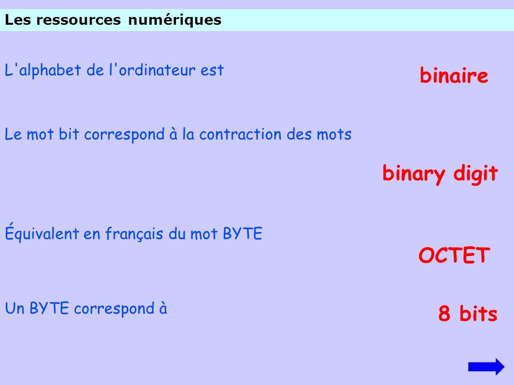 L'alphabet de l'ordinateur est binaire Le mot bit correspond à la contraction des mots binary digit Un BYTE correspond à Équivalent en français du mot