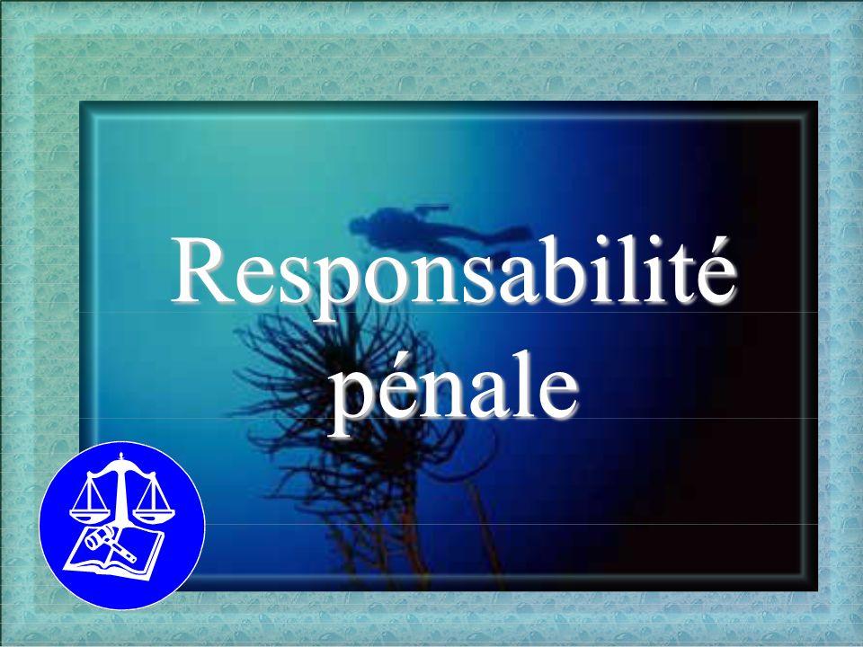 La responsabilité pénale La responsabilité pénale des personnes physiques - n est jamais présumée - la présomption d innocence est systématique - pas d assurance possible Les exonérations - le manque de discernement - l erreur - la contrainte - la force majeure