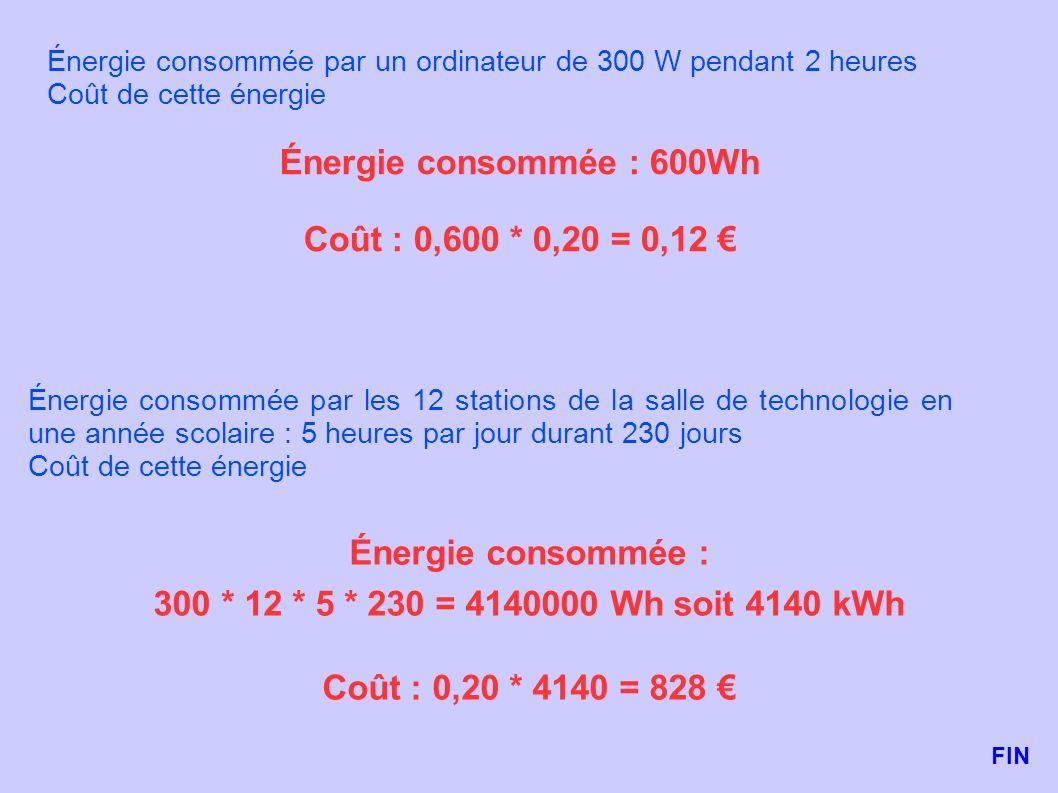 Énergie consommée par un ordinateur de 300 W pendant 2 heures Coût de cette énergie Énergie consommée : 600Wh Coût : 0,600 * 0,20 = 0,12 Énergie conso