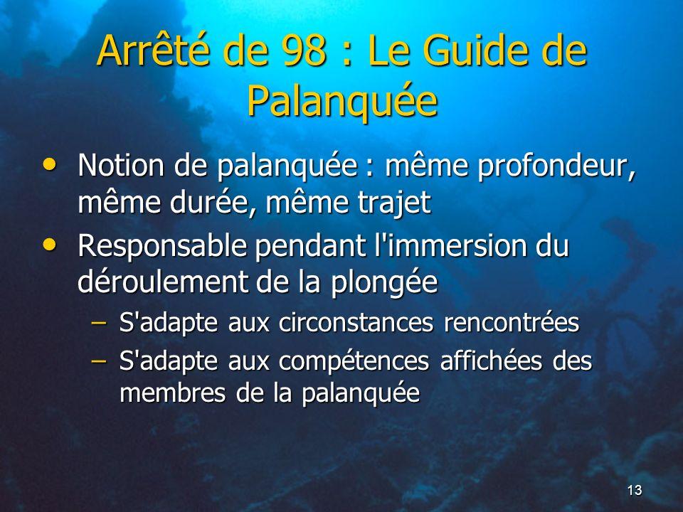13 Arrêté de 98 : Le Guide de Palanquée Notion de palanquée : même profondeur, même durée, même trajet Notion de palanquée : même profondeur, même dur