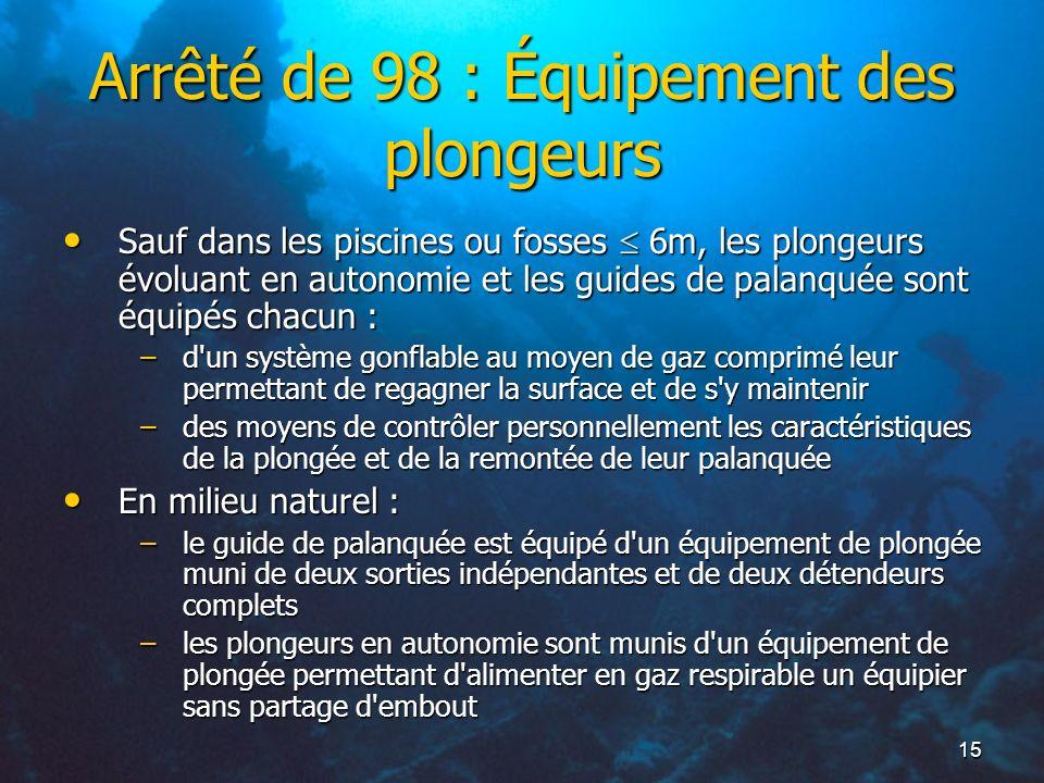 15 Arrêté de 98 : Équipement des plongeurs Sauf dans les piscines ou fosses 6m, les plongeurs évoluant en autonomie et les guides de palanquée sont éq