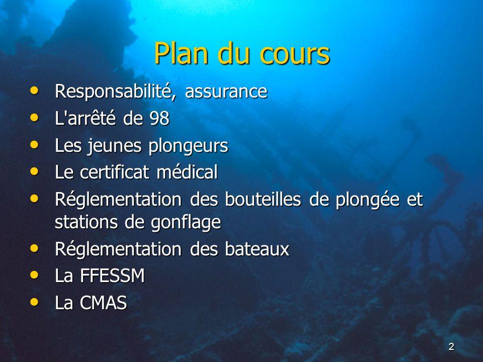 2 Plan du cours Responsabilité, assurance Responsabilité, assurance L'arrêté de 98 L'arrêté de 98 Les jeunes plongeurs Les jeunes plongeurs Le certifi