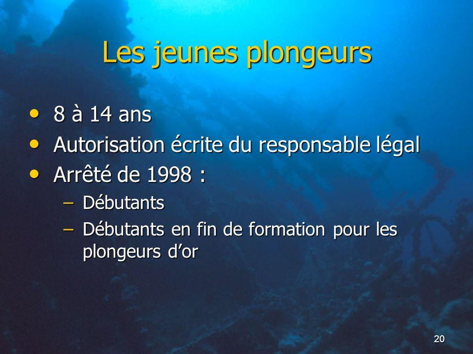 20 Les jeunes plongeurs 8 à 14 ans 8 à 14 ans Autorisation écrite du responsable légal Autorisation écrite du responsable légal Arrêté de 1998 : Arrêt