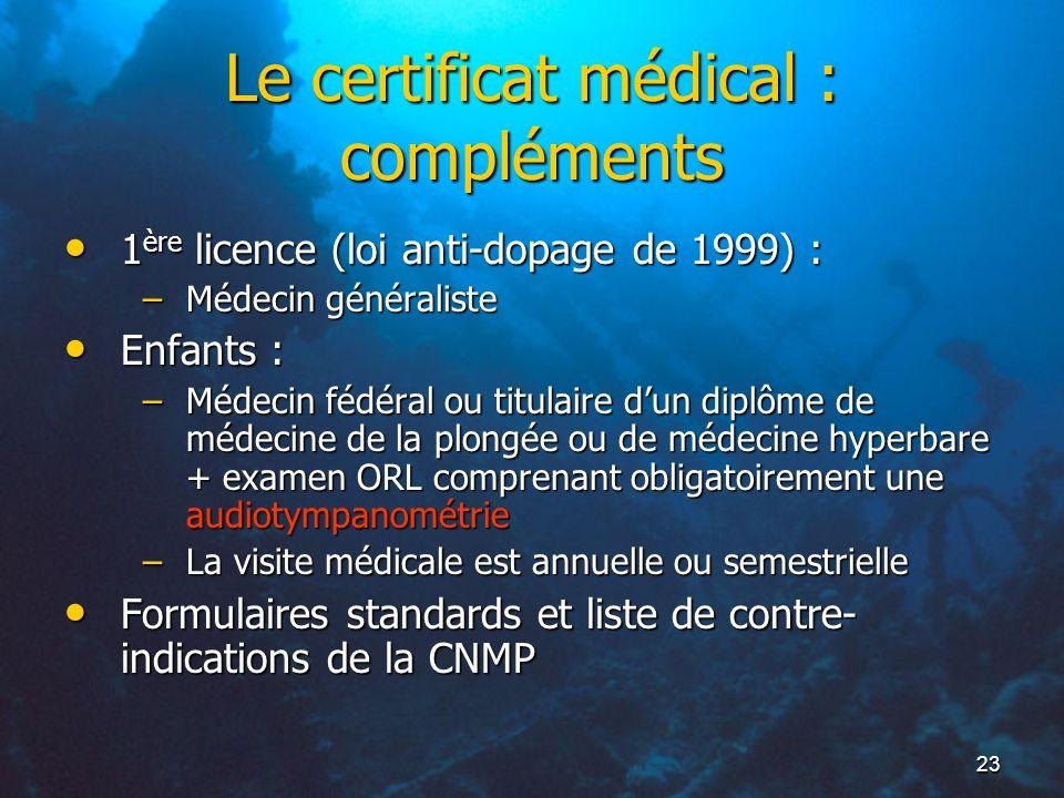 23 Le certificat médical : compléments 1 ère licence (loi anti-dopage de 1999) : 1 ère licence (loi anti-dopage de 1999) : –Médecin généraliste Enfant