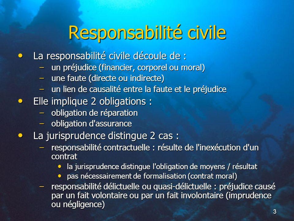 3 Responsabilité civile La responsabilité civile découle de : La responsabilité civile découle de : –un préjudice (financier, corporel ou moral) –une