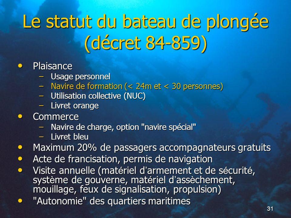 31 Le statut du bateau de plongée (décret 84-859) Plaisance Plaisance –Usage personnel –Navire de formation (< 24m et < 30 personnes) –Utilisation col