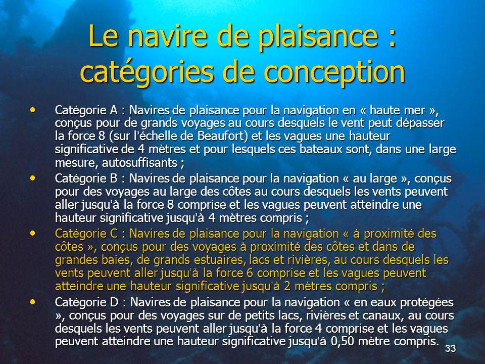 33 Le navire de plaisance : catégories de conception Cat é gorie A : Navires de plaisance pour la navigation en « haute mer », con ç us pour de grands
