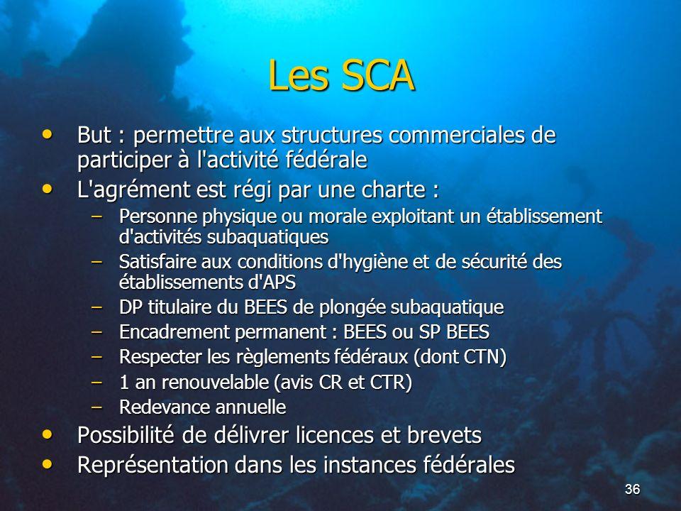 36 Les SCA But : permettre aux structures commerciales de participer à l'activité fédérale But : permettre aux structures commerciales de participer à
