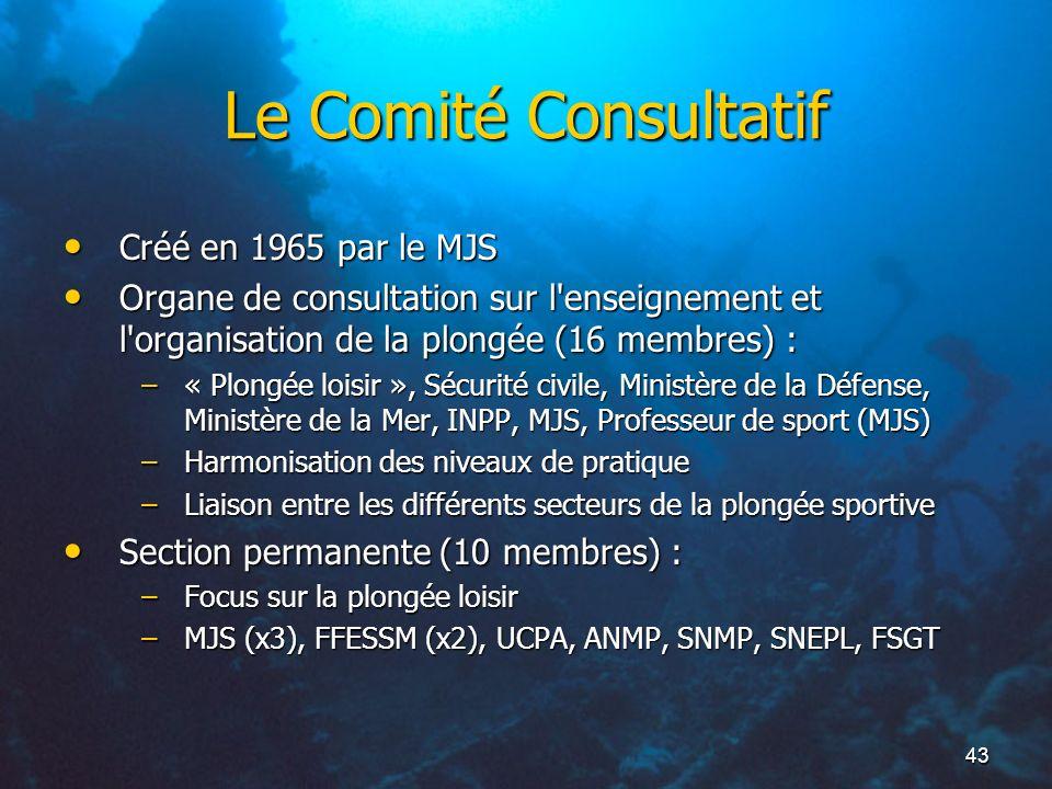 43 Le Comité Consultatif Créé en 1965 par le MJS Créé en 1965 par le MJS Organe de consultation sur l'enseignement et l'organisation de la plongée (16